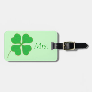 Green Shamrock Gold Dots Mrs. Luggage Tag
