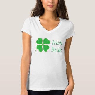 Green Shamrock Gold Trim Irish Bride Shirt