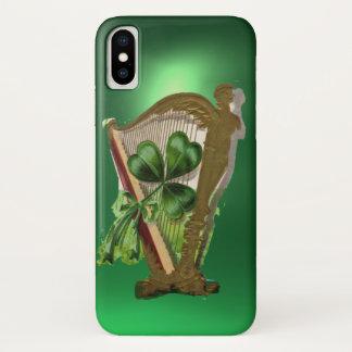 GREEN SHAMROCK HARP green iPhone X Case