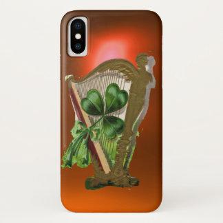 GREEN SHAMROCK HARP orange iPhone X Case