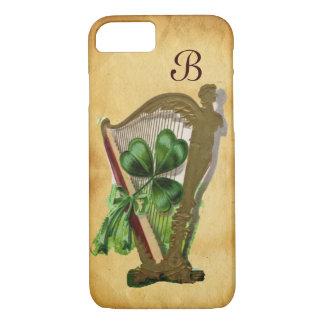 GREEN SHAMROCK HARP PARCHMENT MONOGRAM iPhone 8/7 CASE
