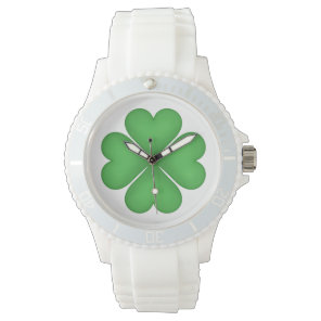 Green Shamrock Heart Shaped Lucky Four leaf Clover Wrist Watch