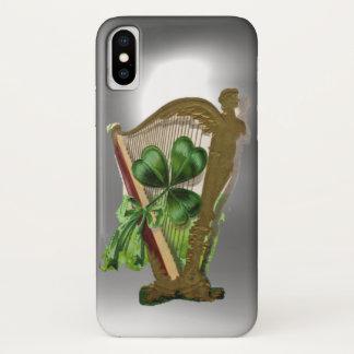 GREEN SHAMROCK IRISH HARP white iPhone X Case