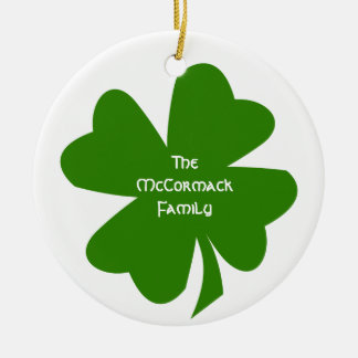 Green shamrock Irish heritage custom family name Double-Sided Ceramic Round Christmas Ornament