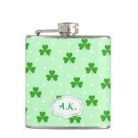 Green shamrock Irish St. Patrick's day pattern Hip Flasks