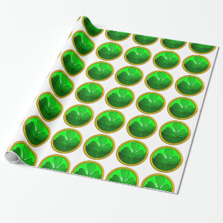 GREEN SHAMROCK JEWEL Saint Patrick's Day ,White Wrapping Paper