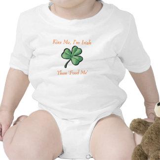 green shamrock Kiss Me I m Irish Then Feed Me Tee Shirts