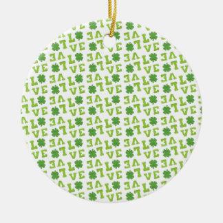 Green Shamrock Love Round Ceramic Ornament