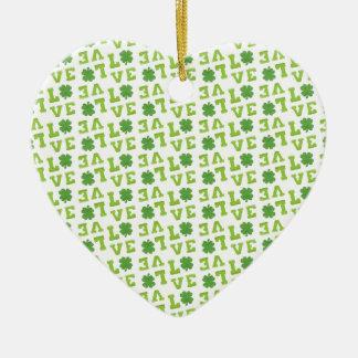 Green Shamrock Love Ceramic Heart Ornament
