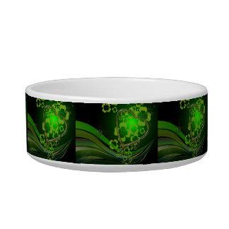 Green shamrock love pet water bowls