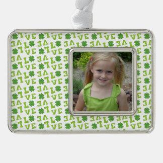 Green Shamrock Love Silver Plated Framed Ornament