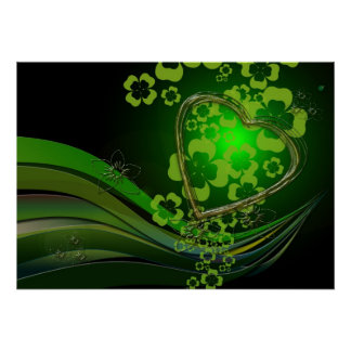 Green shamrock love posters