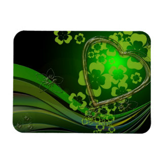 Green shamrock love rectangle magnets