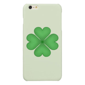 Green Shamrock Lucky Four leaf Clover Hearts Glossy iPhone 6 Plus Case