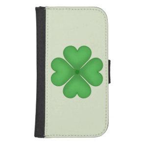 Green Shamrock Lucky Four leaf Clover Hearts Phone Wallet