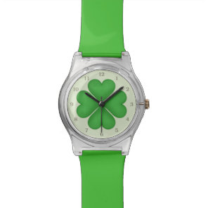 Green Shamrock Lucky Four leaf Clover Hearts Wristwatch