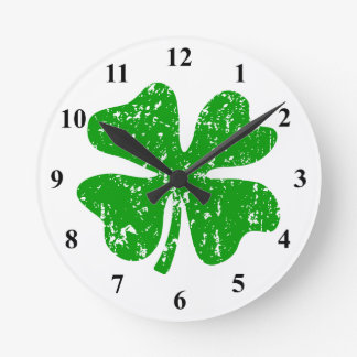 Green shamrock lucky four leaf clover wall clock
