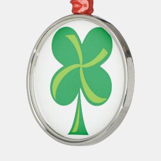 Green Shamrock Metal Ornament