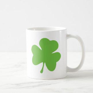 green shamrock classic white coffee mug
