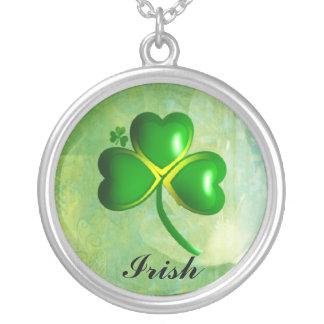 Green Shamrock Necklace Sterling Silver