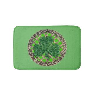 Green Shamrock On Celtic Knots Bath Mat