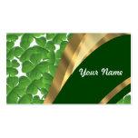 Green shamrock pattern business card templates