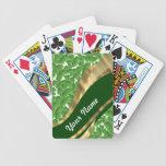 Green shamrock pattern card decks