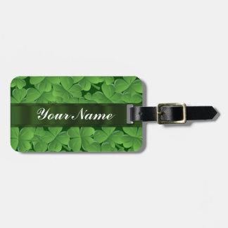 Green shamrock pattern luggage tag
