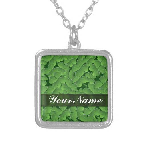 Green shamrock pattern pendant
