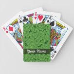 Green shamrock pattern poker deck