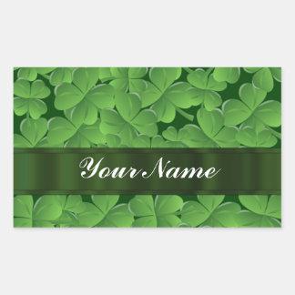 Green shamrock pattern rectangular sticker