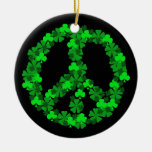 Green Shamrock Peace Sign Ornament