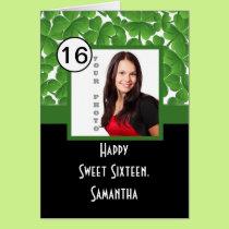 Green shamrock personalized sweet sixteen card