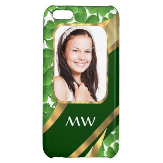 Green shamrock photo background iPhone 5C cases