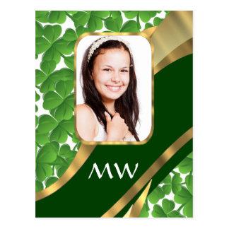 Green shamrock photo background postcard