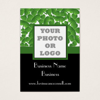 Green shamrock photo logo business card