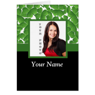 Green shamrock photo template card