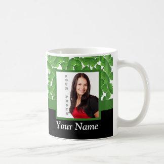 Green shamrock photo template coffee mug