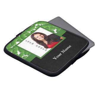 Green shamrock photo template laptop sleeve