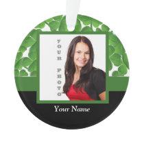 Green shamrock photo template ornament