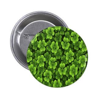 Green Shamrock Plant Pattern Pinback Buttons
