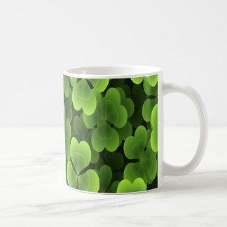 Green Shamrock Plant Pattern Coffee Mug