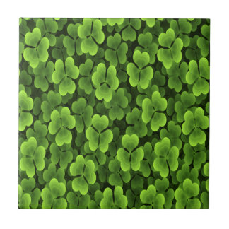 Green Shamrock Plant Pattern Ceramic Tile