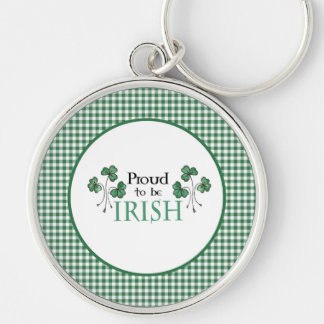 Green Shamrock Proud to be Irish Round Keychain Silver-Colored Round Keychain