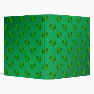 Green shamrock s on green background 3 ring binder