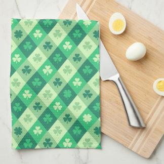 Green Shamrock Saint Patricks Day Custom Text Towel