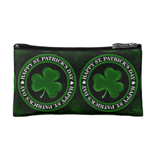 green Shamrock St Patrick's Day black Cosmetic Bag