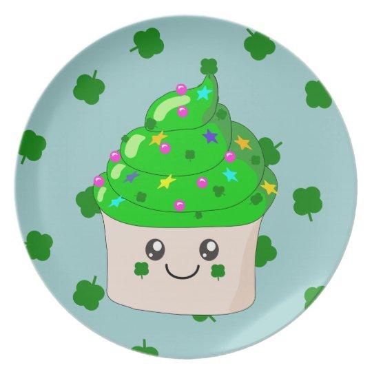 Green Shamrock St Patricks Day Cute Cupcake Melamine Plate