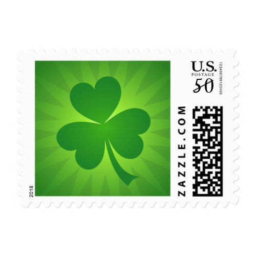 Green shamrock St Patricks day postage stamps