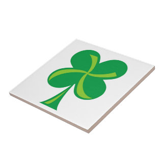 Green Shamrock Ceramic Tile